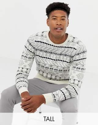 Threadbare Tall Reindeer Jacquard Holidays Sweater