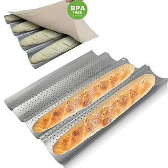 Walfos Baguette Pan Set-Food Grade Nonstick Coating Perforated Baguette Bread Pans for French Bread Baking 4 Loaves