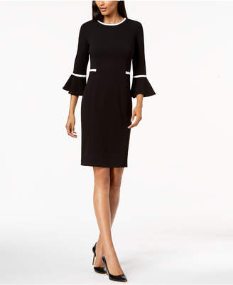 Calvin Klein Piped Bell-Sleeve Sheath Dress, Regular & Petite