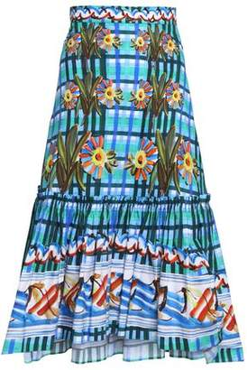 Peter Pilotto Gathered Printed Cotton-Poplin Midi Skirt