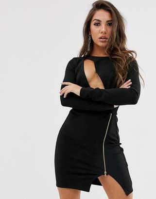 Asos Design DESIGN long sleeve cut out bodycon mini dress with metal zip