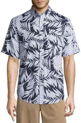 ST. JOHN'S BAY Short Sleeve Leaf Button-Front Shirt