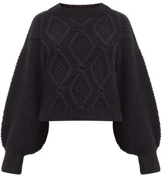 I Love Mr Mittens Balloon Sleeve Cropped Hem Cabled Wool Sweater - Womens - Black