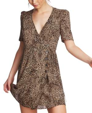 1 STATE 1.State 1.state Leopard Printed Wrap-Front Dress