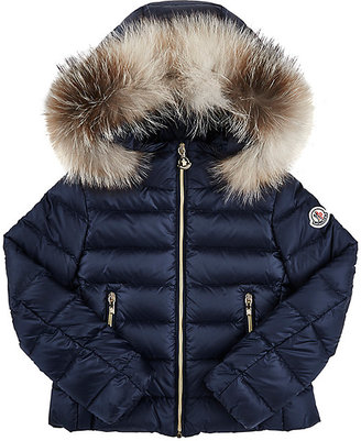 Moncler Solaire Down-Quilted Coat-Blue $595 thestylecure.com