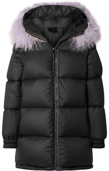 MR & MRS ITALY - Faux Fur-trimmed Quilted Shell Down Coat - Black