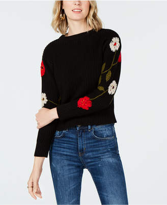 Lucky Brand Embroidered-Sleeve Sweater