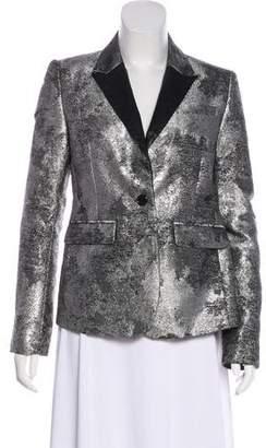 Unconditional Vegan Leather-Trimmed Metallic Blazer
