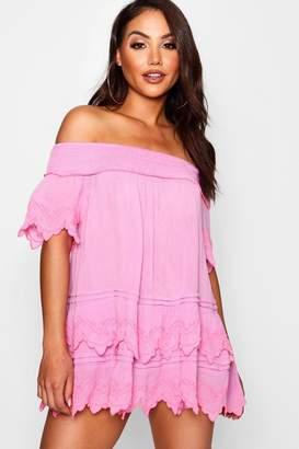 boohoo Embroidered Ruffle Beach Dress