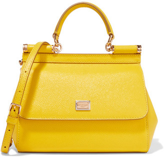 Dolce & Gabbana - Sicily Small Textured-leather Shoulder Bag - Yellow $1,395 thestylecure.com