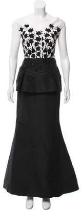 Oscar de la Renta Embroidered Peplum Gown