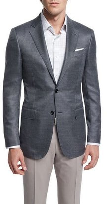 Ermenegildo Zegna Milano Mini-Check Two-Button Wool Jacket, Gray $2,495 thestylecure.com