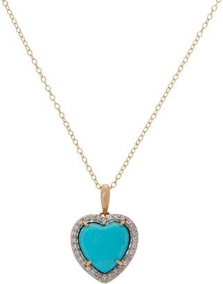 Kingman Turquoise Heart Design Pendant on Chain, 14K