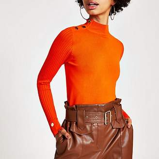 River Island Orange long sleeve high neck rib knitted top