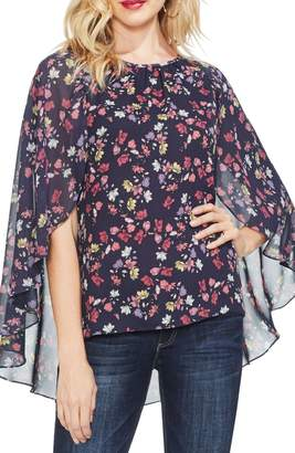 Vince Camuto Twilight Floral Crepe Cape Blouse