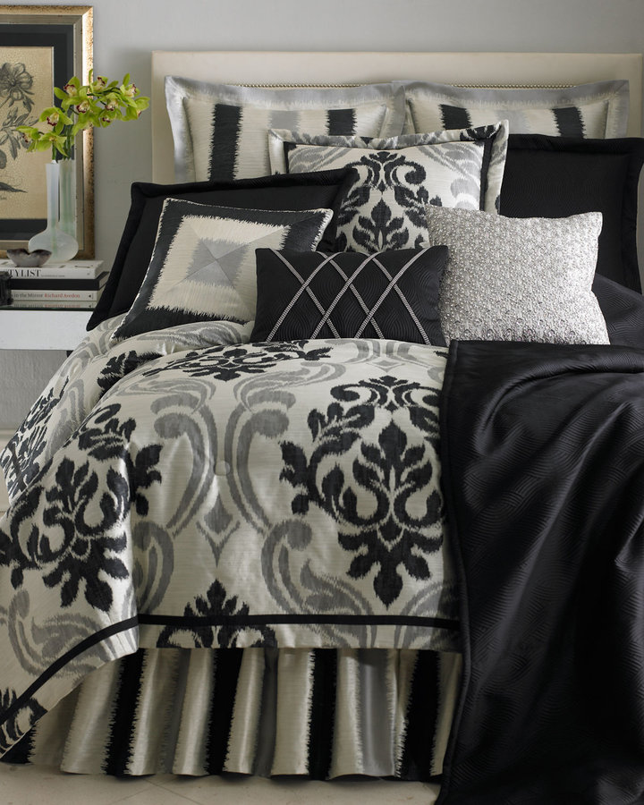 Horchow Maxwell Bed Linens Queen Black Coverlet
