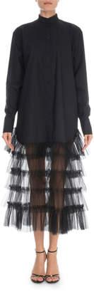 Valentino Tiered-Tulle Skirt Poplin Shirtdress