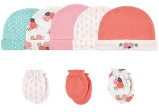 Hudson Baby Girl Cap and Scratch Mittens, 8-Piece Set