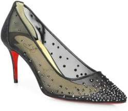 Christian Louboutin Follies Strass 70 Mesh Point Toe Pumps