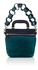 Anya Hindmarch WOMEN'S ORSETT MINI SHEARLING & SUEDE SHOULDER BAG-DARK TEAL