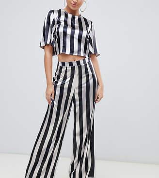 Missguided satin metallic wide leg trouser co-ord in multi