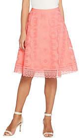 Isaac Mizrahi Live! Floral Mesh Skirt with LaceBorder