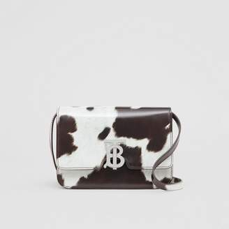Burberry Small Cow Print Leather TB Bag