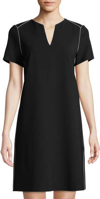 Lafayette 148 New York Ezra Contrast-Piped Short-Sleeve Dress