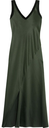 DKNY - Jersey-trimmed Satin Midi Dress - Army green $300 thestylecure.com