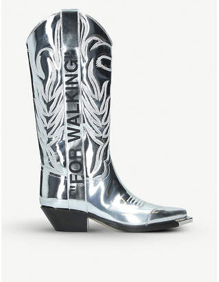 """Off-White """"FOR WALKING"""" metallic-leather heeled ankle boots"""