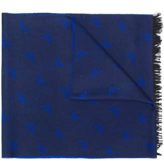 Emporio Armani embroidered logo scarf