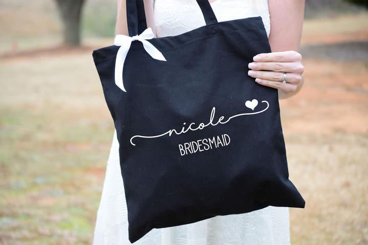 Etsy Bridesmaid Tote Bags - Maid of Honor Tote - Personalized Bridesmaid Bags - Bridal Party Bridesmaid G