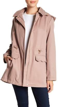 Kate Spade Hooded Drawstring Waist Raincoat
