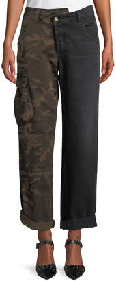 Monse Split-Leg Camo Cargo & Denim Straight-Leg Pants