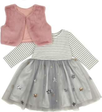 Popatu Stripe Tulle Dress with Faux Fur Shrug