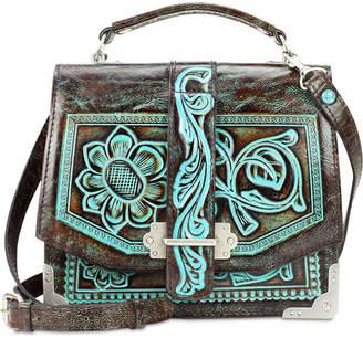 Patricia Nash Turquoise Tooled Stella Flap Shoulder Bag