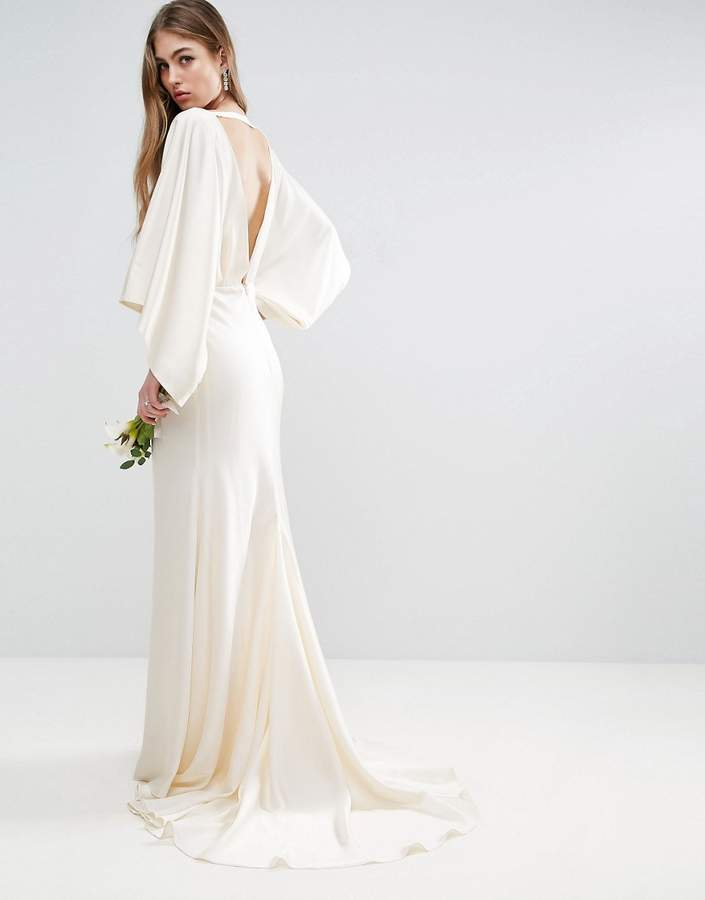 Asos ASOS BRIDAL Kimono Plunge Back Maxi Dress