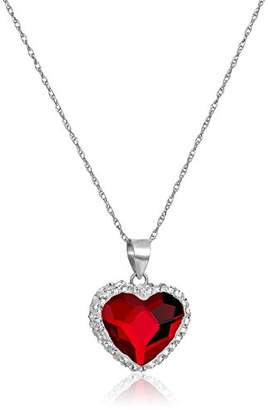 Swarovski Sterling Silver Elements Two Tone Heart Pendant Necklace