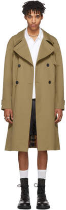 Maison Margiela Tan Back Plaid Trench Coat