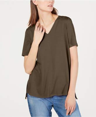 Eileen Fisher High-Low V-Neck Tencel T-Shirt, Regular & Petite