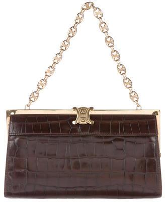 CelineCéline Embossed Leather Handle Bag