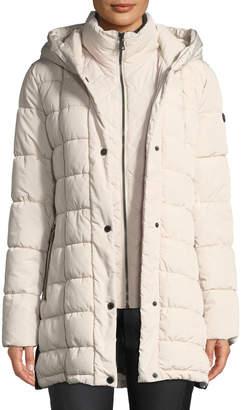 Iconic American Designer Knit-Side Bibbed Puffer Jacket