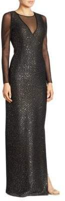St. John Sequin Illusion Column Gown