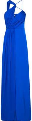 Cushnie Draped Cutout Silk-georgette Gown - Blue