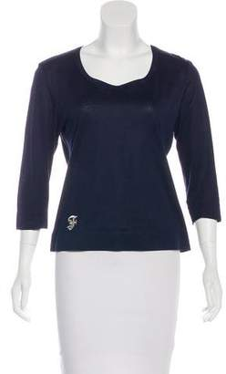 Gianfranco Ferre Long Sleeve Scoop Neck Top