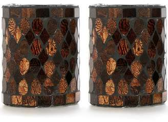Mainstays Bronze Mosaic Glass Votive Holder, Set of Two