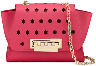 Zac Posen Eartha Floral-Peforated Chain Strap Leather Crossbody Bag, Fuchsia