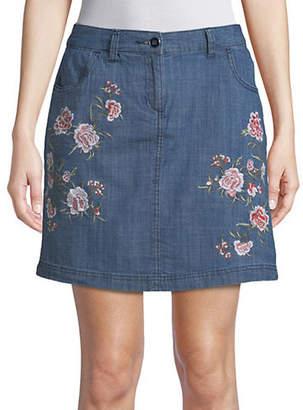 Karen Scott Petite Embroidered Floral Denim Skort