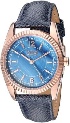 Burgi BUR167BU Women's Quartz Metal and Leather Automatic Watch