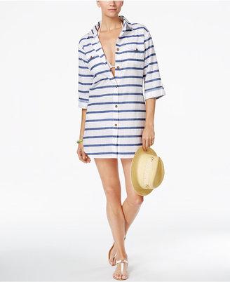 Dotti Tulum Striped Cover-Up Shirt $54 thestylecure.com